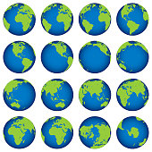 16 orthographic projections of Earth globe oriented at 15° latitude.