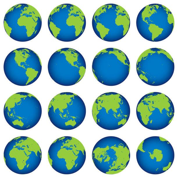 stockillustraties, clipart, cartoons en iconen met kaart van earth globe draaien instellen - ronddraaien