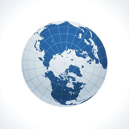 Earth globe, North Pole view.
