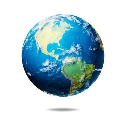 Vector illustration of a realistic planet Earth with shadow effects. Cut out design element on white background.
