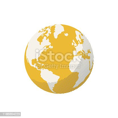 Vector illustration of a flat designed Earth globe with retro colors and a nice half tone texture effect. Design element great for social media platforms, travel and transportation concepts, technology, business and global communications and a lot more design projects.