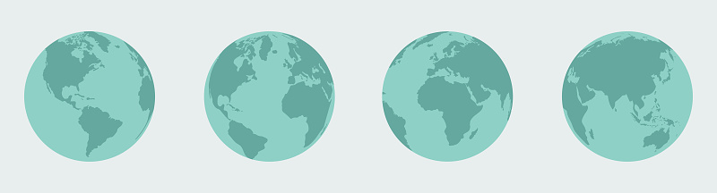 A set of four globes from different angles. EPS10 vector illustration, global colors, easy to edit.