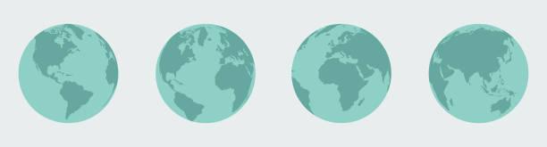 erde, globus gesetzt - weltkugel stock-grafiken, -clipart, -cartoons und -symbole