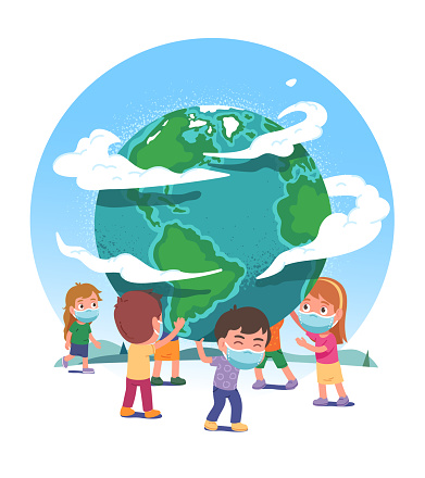 Earth globe supported by boys & girls children in protective masks stop COVID pandemic spread. Kids persons protect world from coronavirus. Global corona virus danger concept flat vector illustration