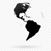 Highly detailed Earth globe symbol, North and South America. Black on white background.