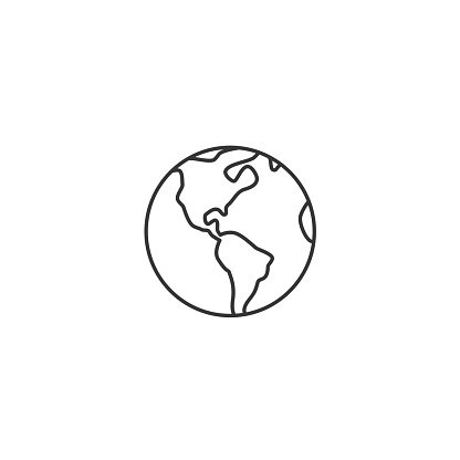 Earth globe thin line icon - vector illustration