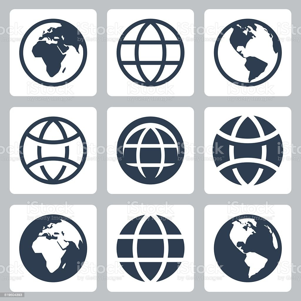 Earth globe vector icons set vector art illustration