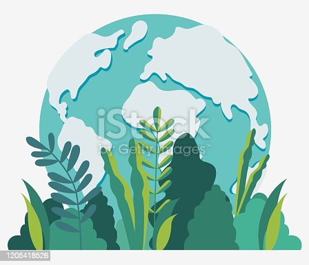 istock Earth globe vector illustration. Travel, vacation, holidays and adventure vector concept .  Eco friendly ecology and nature conservation design 1205418526