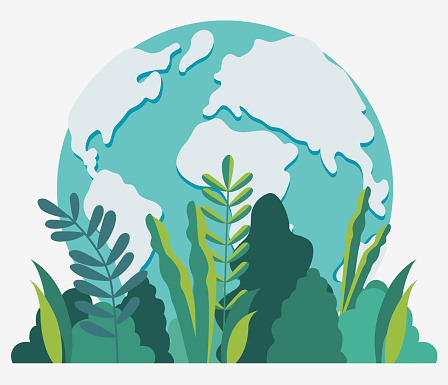 Earth globe vector illustration. Travel, vacation, holidays and adventure vector concept .  Eco friendly ecology and nature conservation design