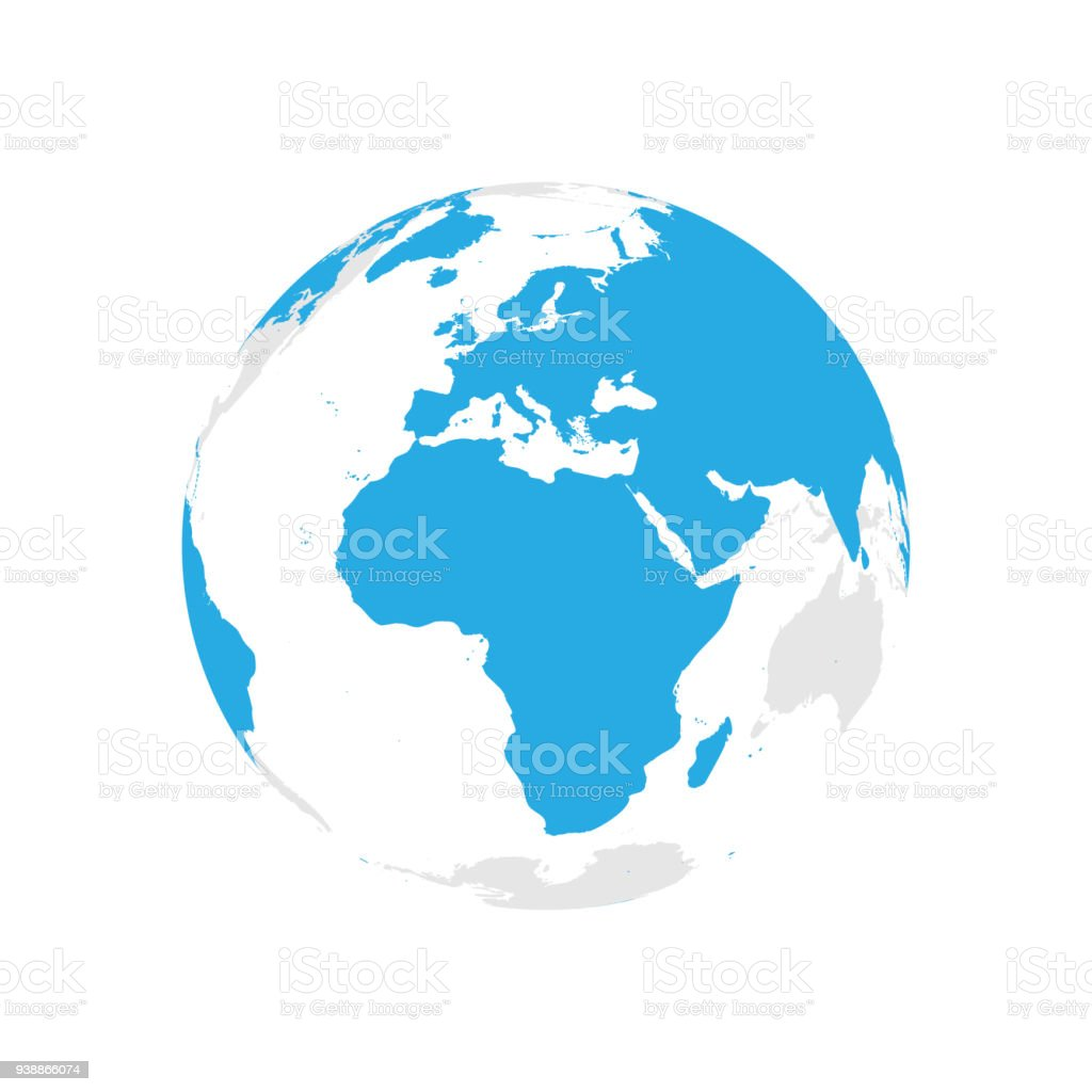Earth globe with blue world map focused on africa and europe flat earth globe with blue world map focused on africa and europe flat vector illustration gumiabroncs Images