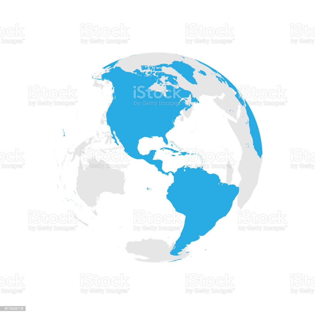 Vector globe map awesome graphic library earth globe with blue world map focused on americas flat vector rh istockphoto com vector globe gumiabroncs Image collections