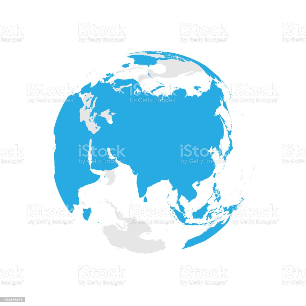Earth globe with blue world map focused on asia flat vector earth globe with blue world map focused on asia flat vector illustration royalty gumiabroncs Gallery