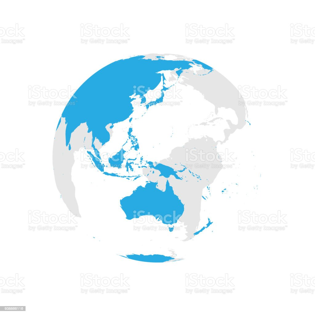 Australia And Pacific Map.Earth Globe With Blue World Map Focused On Australia And Pacific