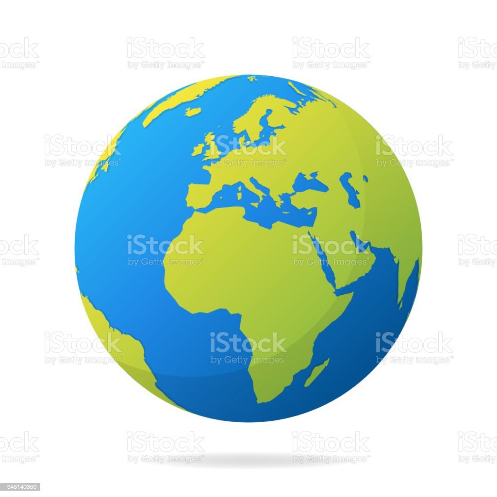 Earth globe with green continents. Modern 3d world map concept. World map realistic blue ball vector illustration - Royalty-free Abstrato arte vetorial