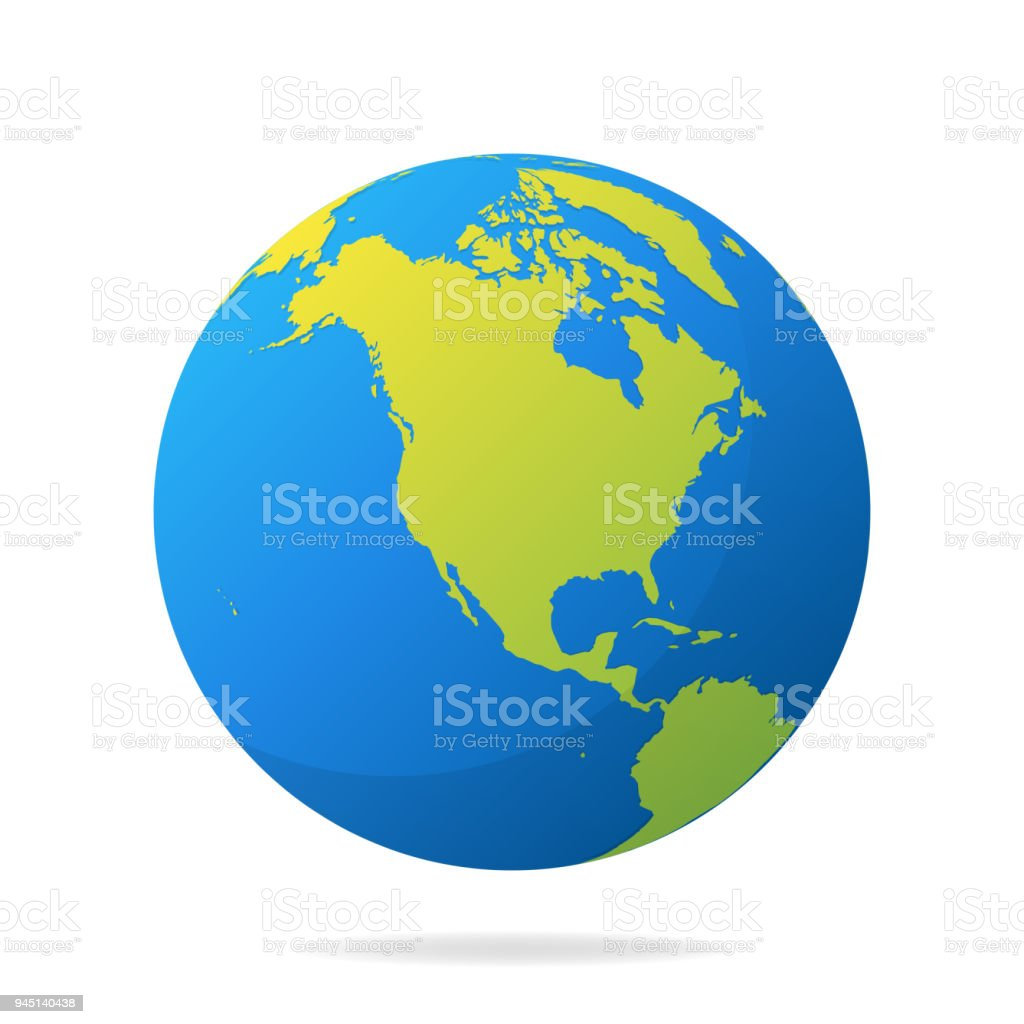 Earth globe with green continents modern 3d world map concept world earth globe with green continents modern 3d world map concept world map realistic blue gumiabroncs Gallery