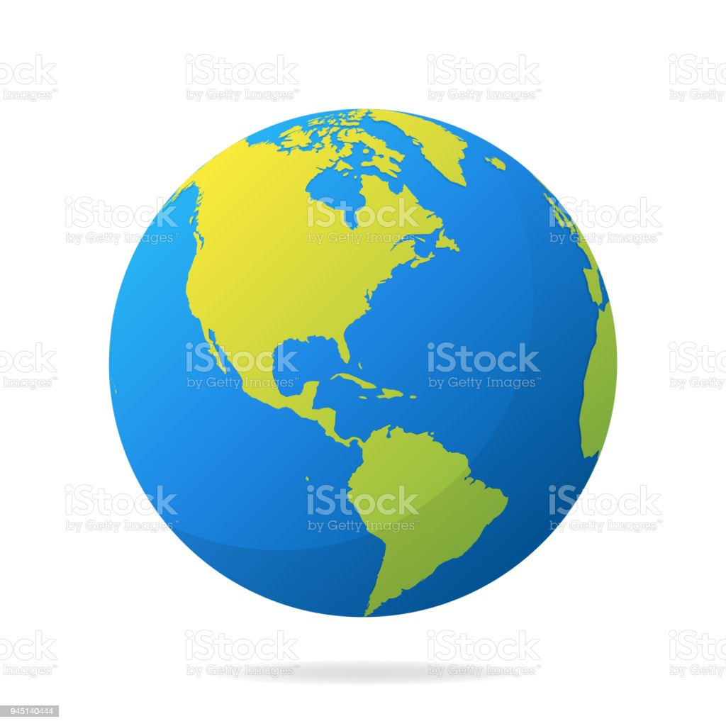 earth globe with green continents modern 3d world map concept world