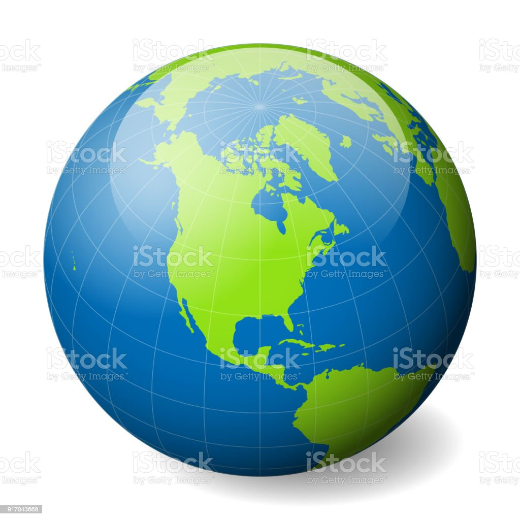Earth globe with green world map and blue seas and oceans focused on earth globe with green world map and blue seas and oceans focused on north america gumiabroncs Images