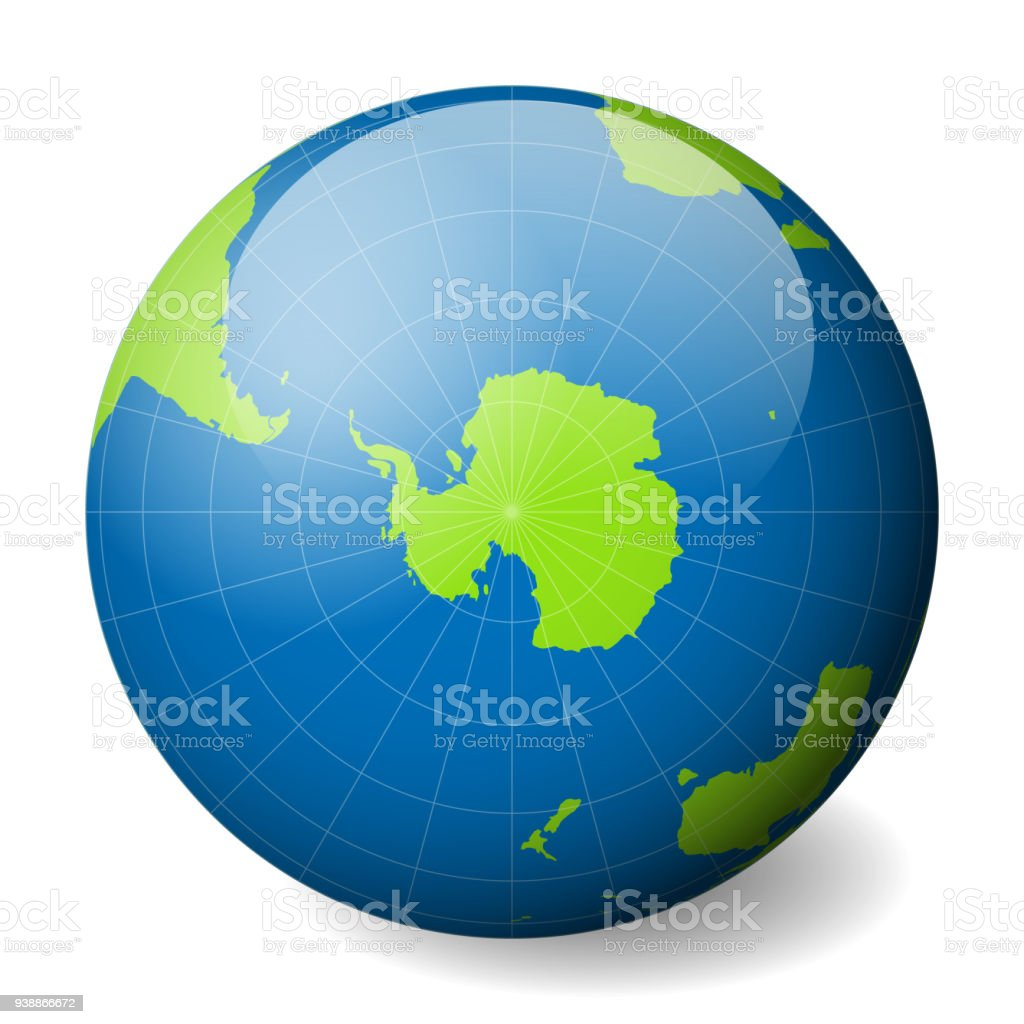 Earth Globe With Green World Map And Blue Seas And Oceans Focused On ...