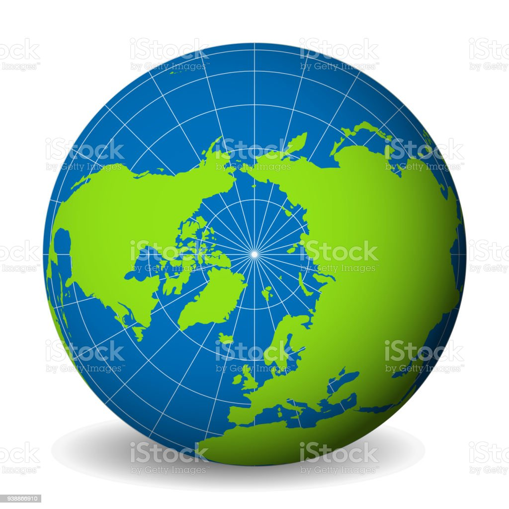 earth globe with green world map and blue seas and oceans focused on arctic ocean and