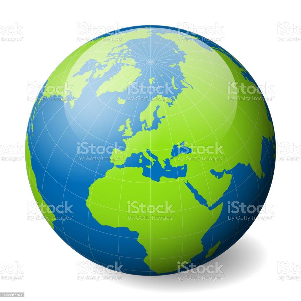 Carte Europe Avec Meridiens.Globe Terrestre Avec Monde Vert Bleu Et La Carte Des Mers Et