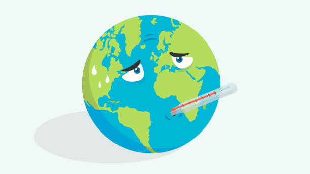 Earth globe with high fever. Global warming, climate change, pandemics vector art illustration