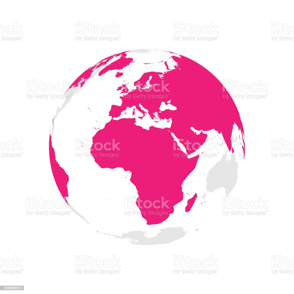 Earth globe with pink world map focused on africa and europe flat earth globe with pink world map focused on africa and europe flat vector illustration gumiabroncs Choice Image