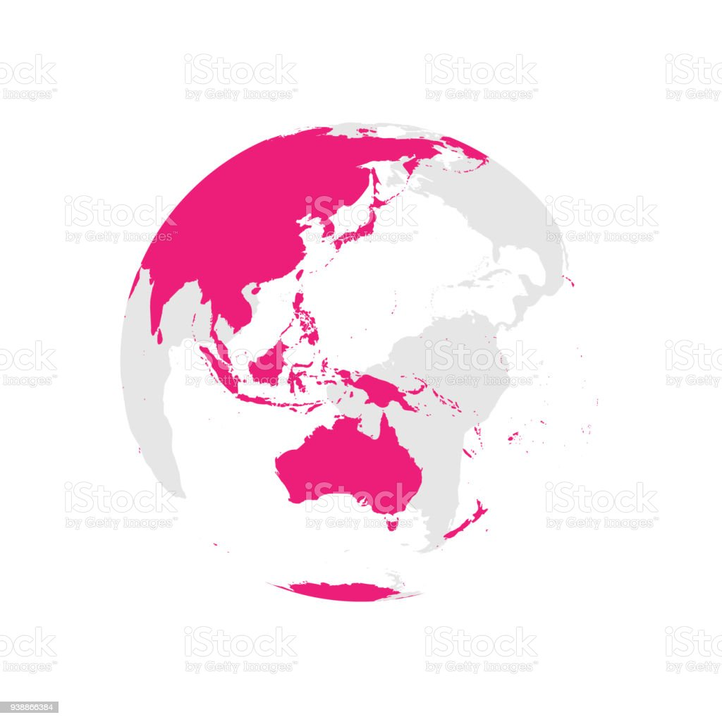 Earth globe with pink world map focused on australia and pacific earth globe with pink world map focused on australia and pacific flat vector illustration gumiabroncs Gallery