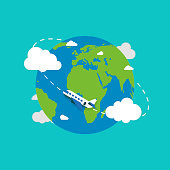 Earth globe with plane. Earth in flat style. Plane flying. Earth. Vector illustration