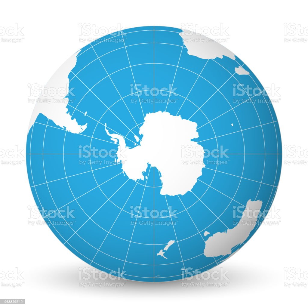 Earth globe with white world map and blue seas and oceans focused on Antarctica with South Pole. With thin white meridians and parallels. 3D vector illustration vector art illustration