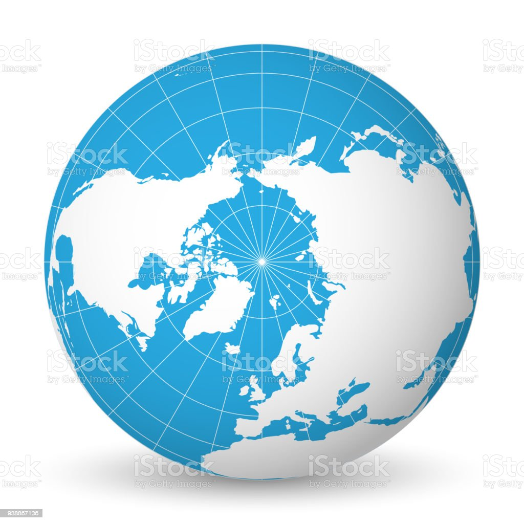 Earth globe with white world map and blue seas and oceans focused on earth globe with white world map and blue seas and oceans focused on arctic ocean and gumiabroncs Choice Image