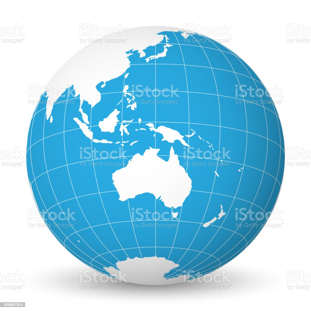 Earth globe with white world map and blue seas and oceans focused on earth globe with white world map and blue seas and oceans focused on australia with gumiabroncs Gallery