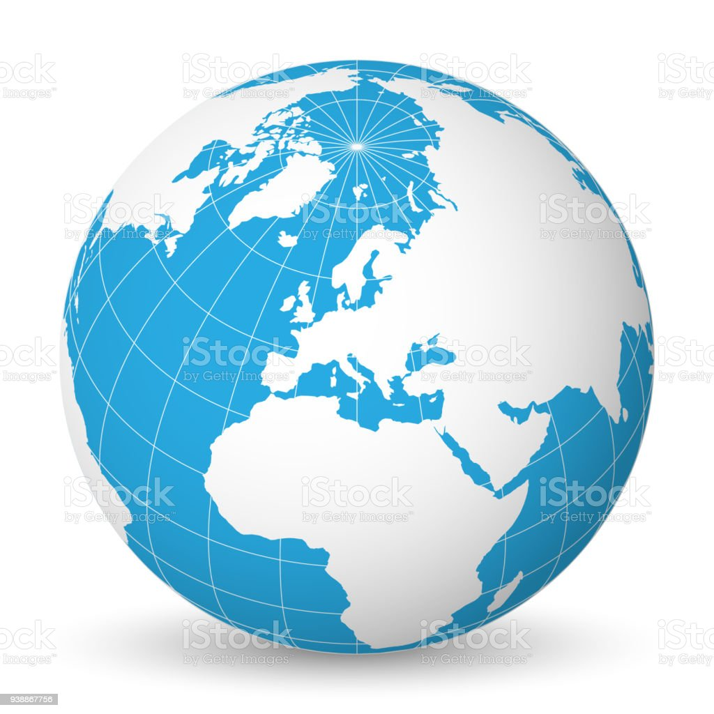 Earth globe with white world map and blue seas and oceans focused on earth globe with white world map and blue seas and oceans focused on europe with gumiabroncs Image collections