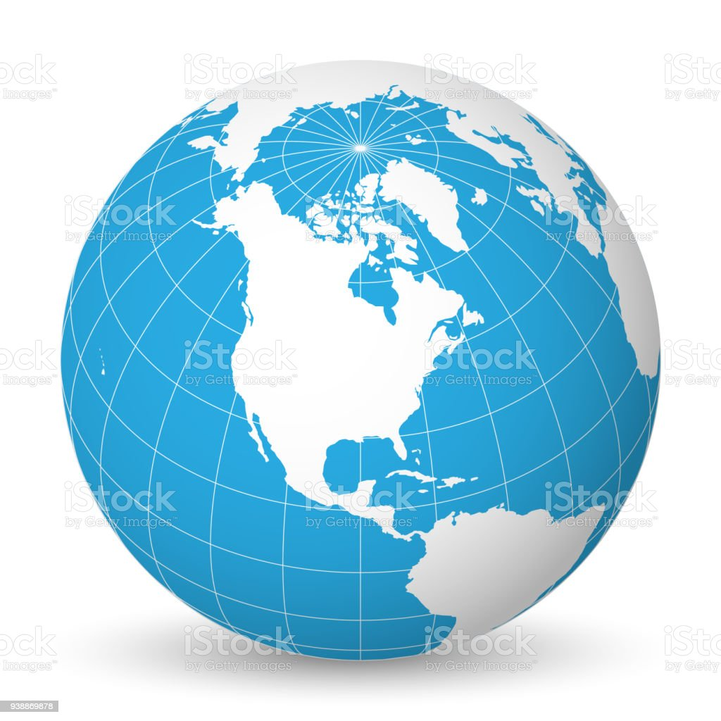 Earth globe with white world map and blue seas and oceans focused on earth globe with white world map and blue seas and oceans focused on north america gumiabroncs Image collections