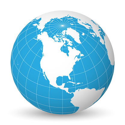 Earth globe with white world map and blue seas and oceans focused on North America. With thin white meridians and parallels. 3D vector illustration