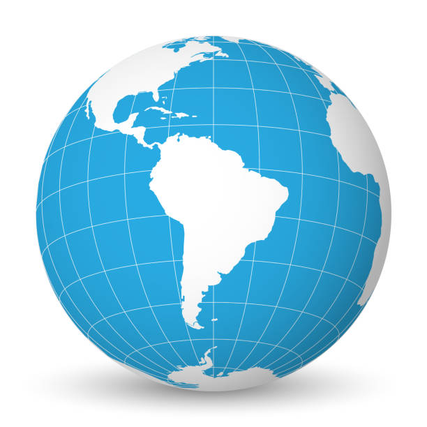 Earth globe with white world map and blue seas and oceans focused on South America. With thin white meridians and parallels. 3D vector illustration Earth globe with green world map and blue seas and oceans focused on South America. With thin white meridians and parallels. 3D vector illustration. equator stock illustrations