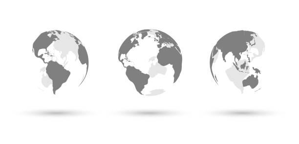 Erde-Globen setzen auf weißem Hintergrund mit Schatten – Vektorgrafik
