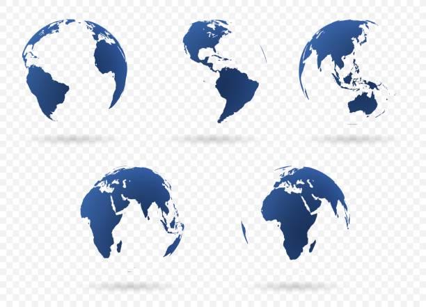 ilustrações de stock, clip art, desenhos animados e ícones de earth globes set - oceano pacífico