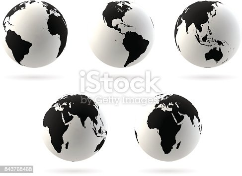 Set of Earth globe icon in different views. Highly detailed symbol. North and South America, China, India, Australia, Pacific oceans, Africa. Black on white background. Vector illustration