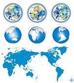 Earth globes with world map - editable vector