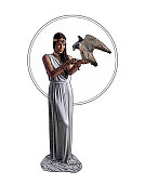 Engraving illustration of an Earth Goddess holding Peregrine Falcon