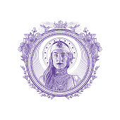 Engraving of a beautiful Earth Goddess in decorative circle frame surrounded by hummingbirds, roses and purple salvia