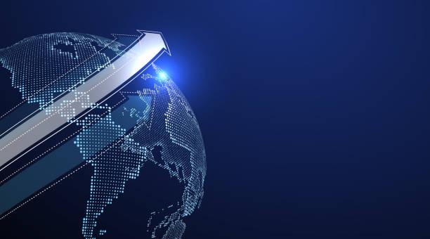 3D-Erde-Grafik symbolisiert globalen Handel, Vektor-Illustration. – Vektorgrafik