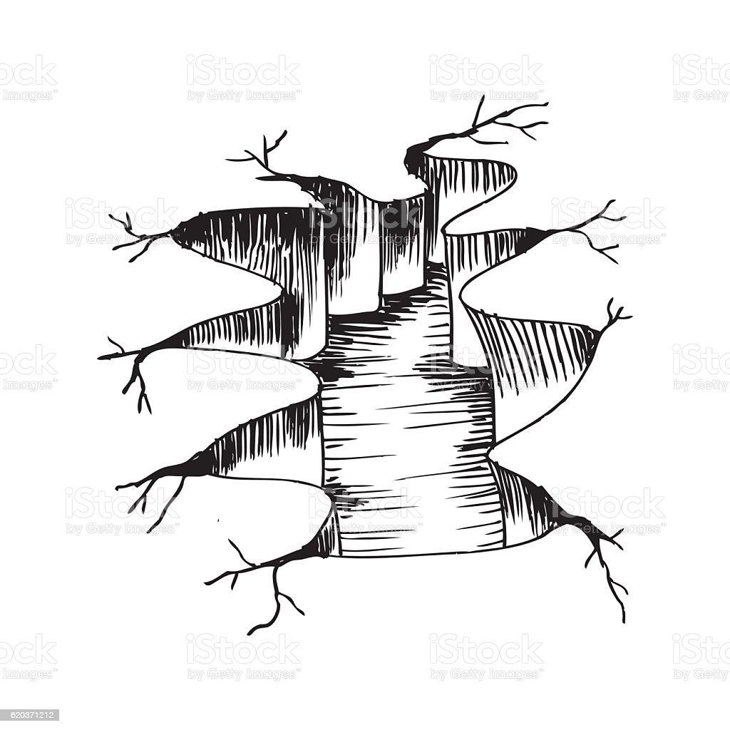 Earth ground crack. Hand drawing illustration. earth ground crack hand drawing illustration - arte vetorial de stock e mais imagens de acidentes e desastres royalty-free