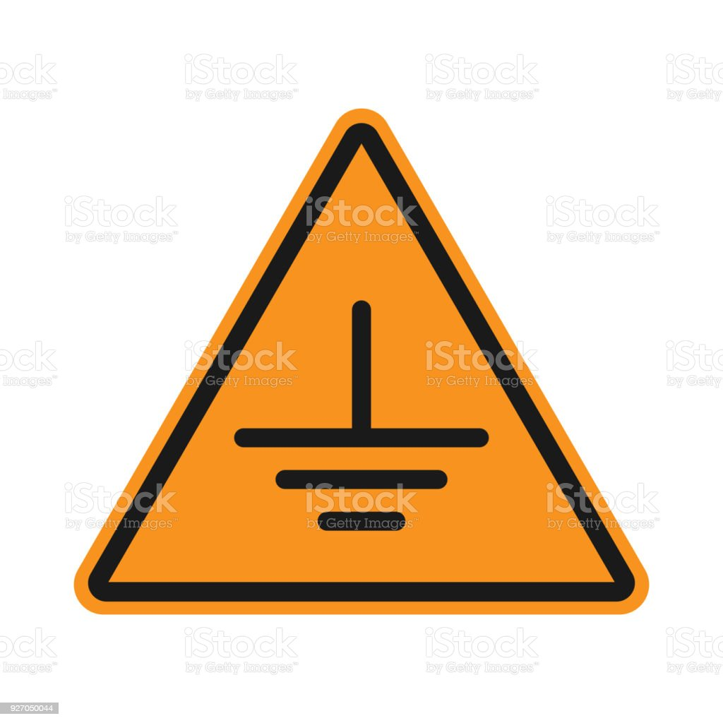 Erde Erdung Zeichen Auf Gelbem Dreieck Vektor Icon Stock Vektor Art ...