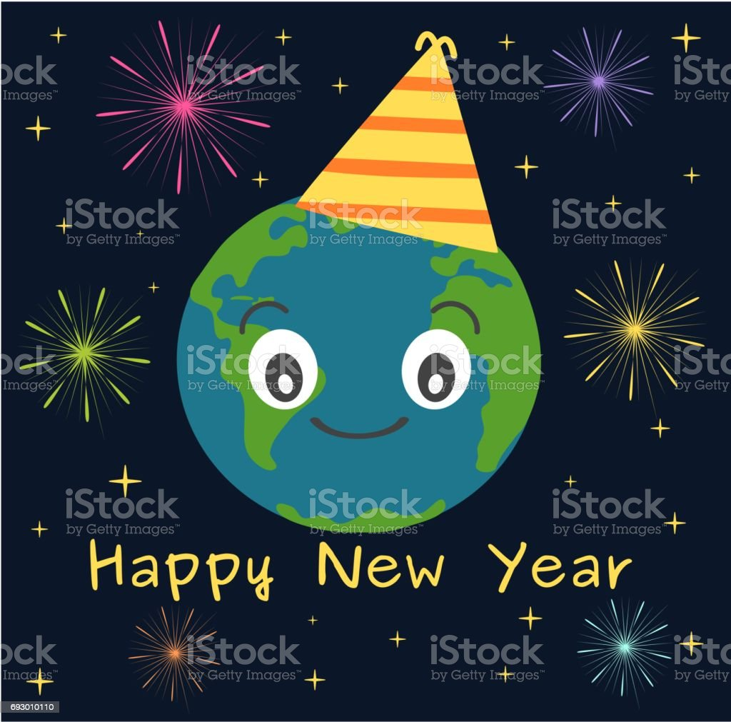 earth happy new year funny cute holidays vector illustration with stars and fireworks vector art illustration