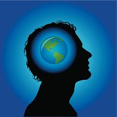 Silhouette of a head and glowing globe.
