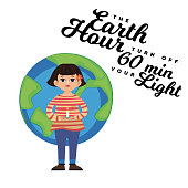 Earth hour coccept save planet 60 minut or one hour turn off light at night for international world day Vector illustration Woman holding burning candle on background of globe.