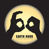 Earth Hour. Hand shadow puppets of 60. Lights Off Save the Earth. Eco energy saving vector illustration.