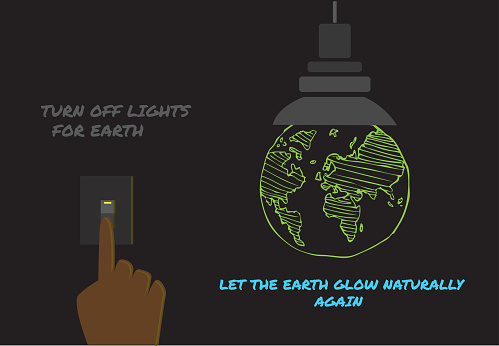 Earth Hour or Earth Day concept. Earth glows green in the dark when lights are switched off. Editable Clip Art.