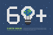 Earth Hour poster template. Light bulb with earth and 60+ in 3D pixel art on space background. Lights Off Save the Earth. Eco energy save concept vector in flat vector illustration.
